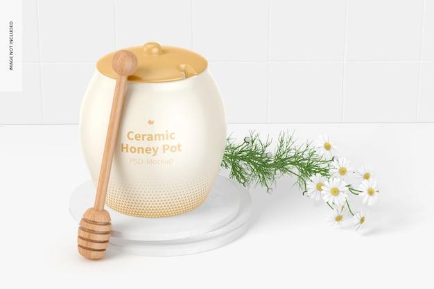 Mockup di vaso di miele in ceramica, chiuso close