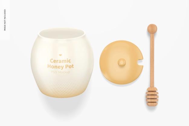 Mockup di vaso di miele in ceramica, vista dall'alto