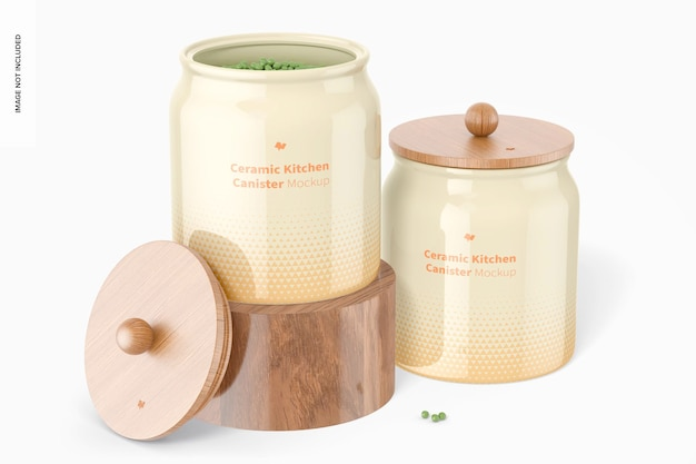 Керамический мокап для кухонной канистры, открытый