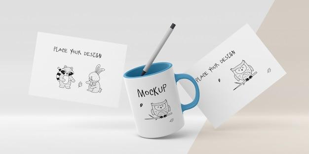 Ceramic mug mock-up with custom design