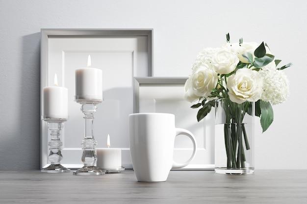 花と装飾的な要素を持つセラミックマグカップ