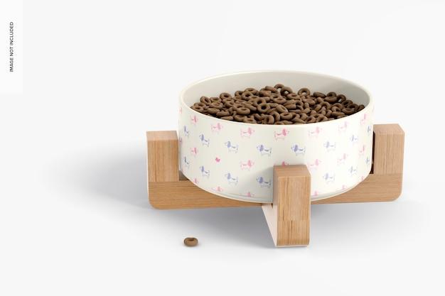 세라믹 애완 동물 그릇 목업, 투시도
