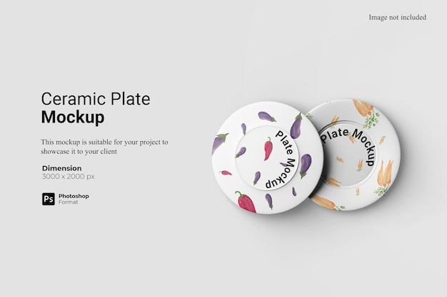 Ceramic plate mockup design isolated