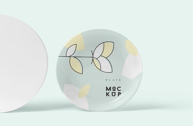 Ceramic or porcelain round plate mockup