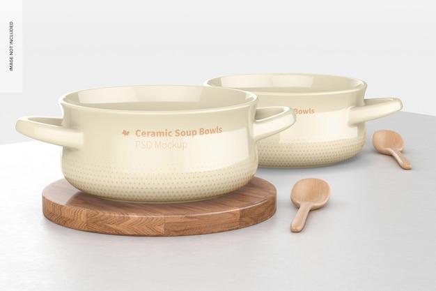 손잡이 목업이 있는 세라믹 수프 그릇, 정면도