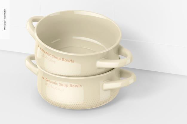 Керамические суповые миски с ручками, макет, сложенный