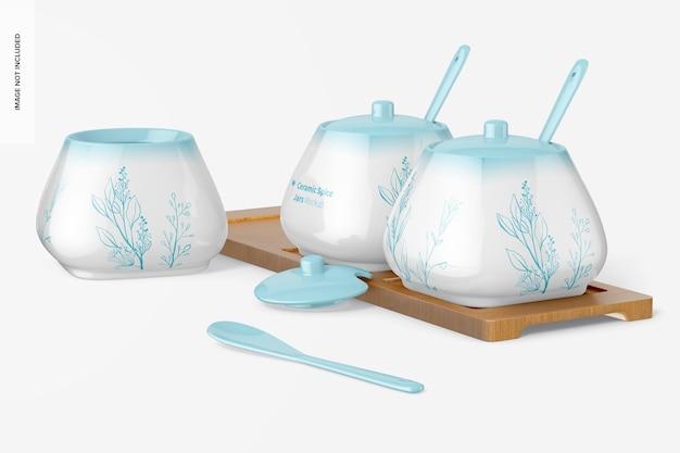 Mockup di vasetti di spezie in ceramica, aperti e chiusi