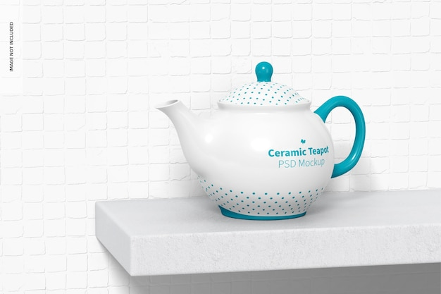 Ceramic teapot on surface mockup