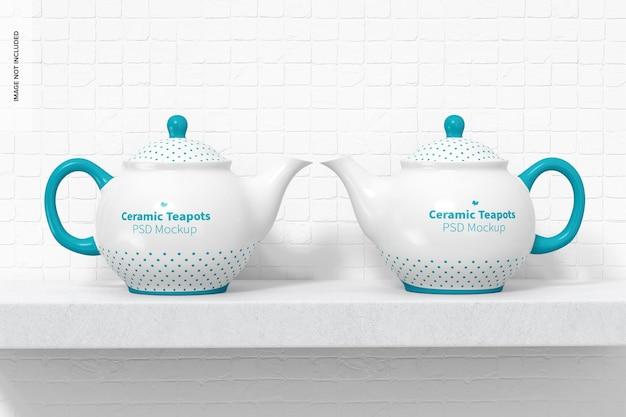 Мокап керамических чайников