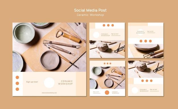 세라믹 워크샵 소셜 미디어 게시물