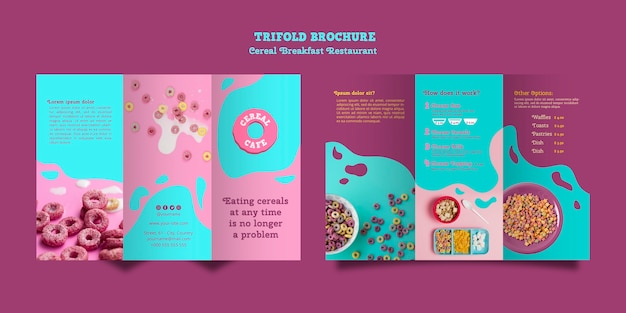 Cereal breakfast restaurant brochure