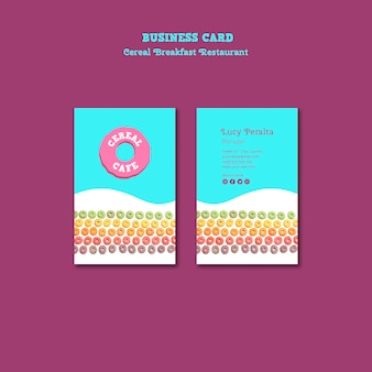 Cereal breakfast restaurant business card