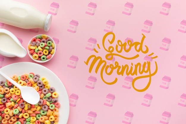 Cereals and milk for a healthy breakfast