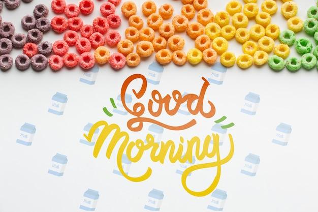 おはようメッセージとともにテーブルに広がる穀物