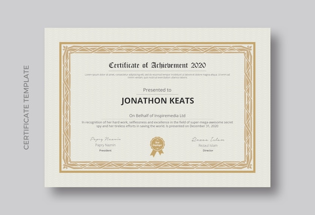 Certificate of achievement template design Premium Psd