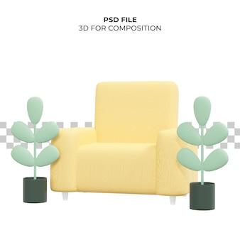 椅子と植物の3dイラスト3dレンダリングプレミアムpsd