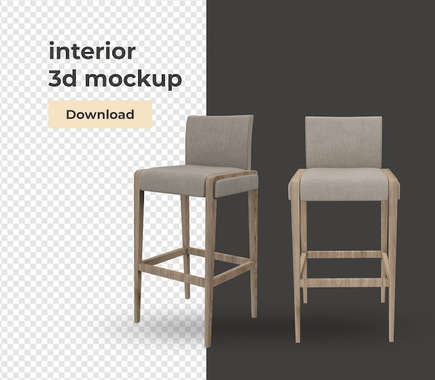 Chair decoration design with modern style Premium Psd