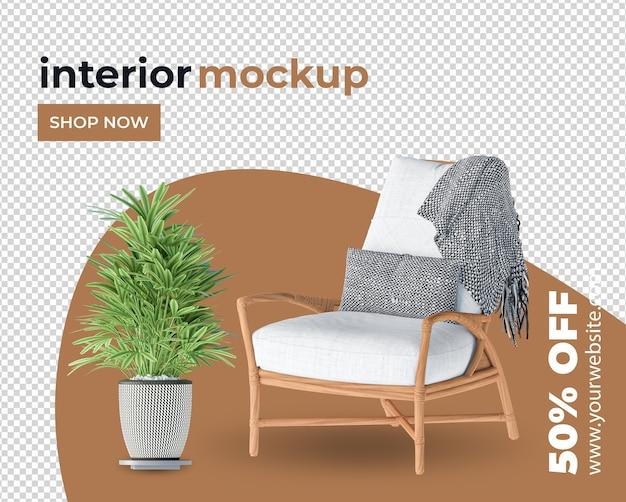 Кресло, диван, украшение интерьера в 3d-рендере