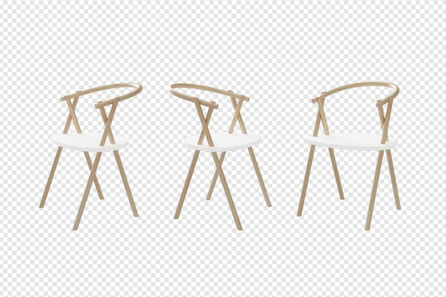 Chair with many view  3d rendering