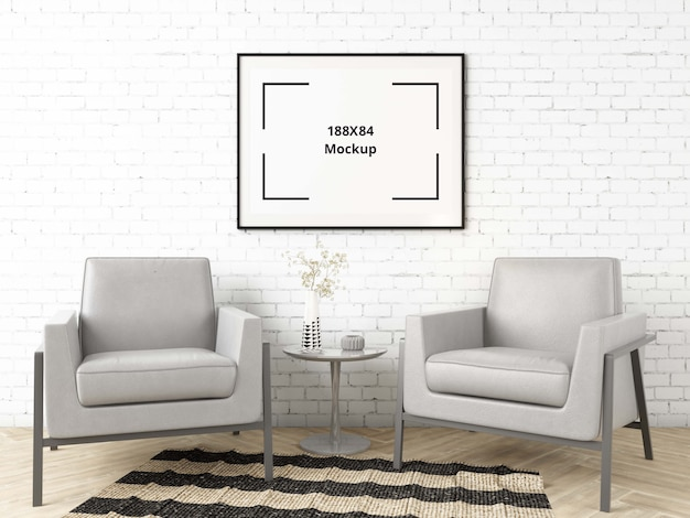 Chairs in living room with poster mockup