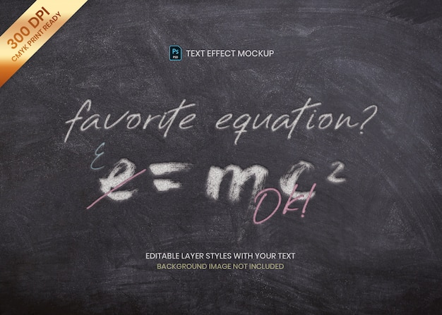 Chalk on blackboard text effect  print template