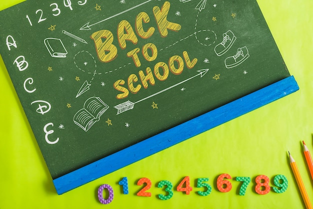 Chalkboard mockup with back to school concept