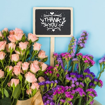 Chalkboard mockup with floral decoration