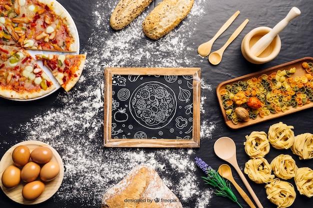ピザデザインの黒板模型