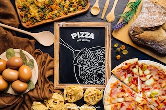 Chalkboard mockup with pizza design