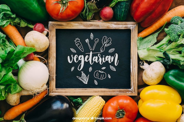Chalkboard mockup with vegetable designs