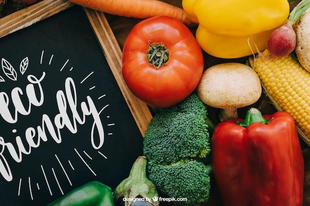 Chalkboard mockup with vegetable designs