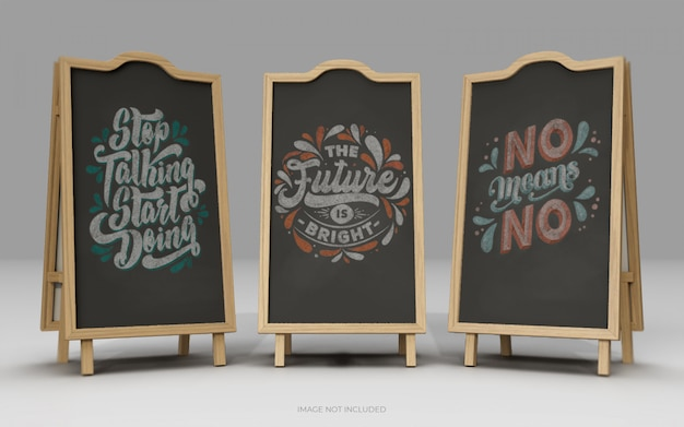 Chalkboard signs on white