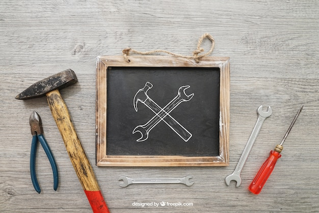 Chalkboard and tools