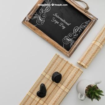 대나무 옷과 식물 칠판