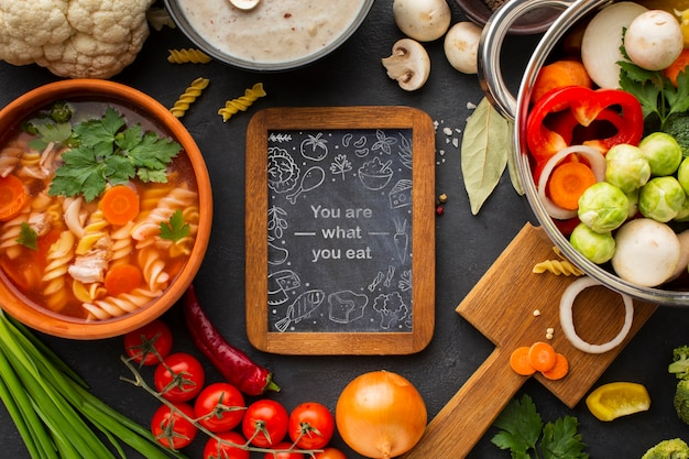 Chalkboard with frame of vegetables
