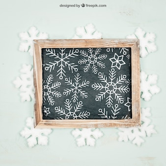 Chalkboard with snowflakes mockup with christmtas design