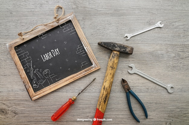 Chalkboard with tools