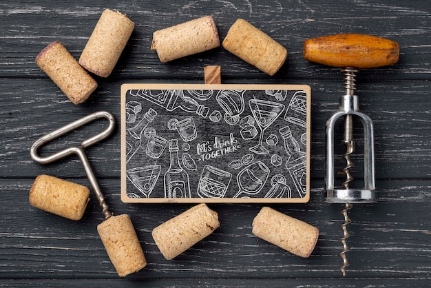 Chalkboard with wine stoppers