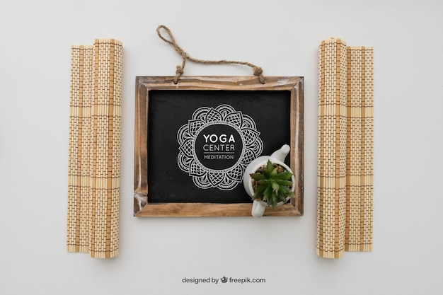 Chalkboard with yoga drawing