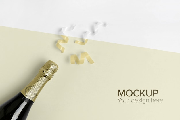 Champagne bottle mock-up and yellow confetti