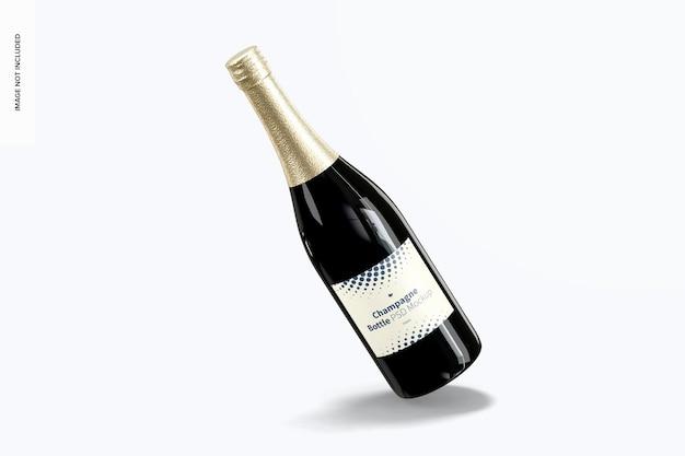 Мокап бутылки шампанского, наклоненный
