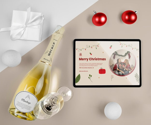 Champagne bottle with mock-up