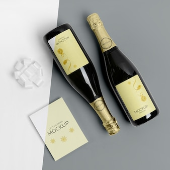 Champagne bottles mock-up flat lay