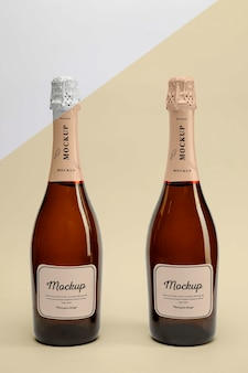 Champagne bottles with mock-up
