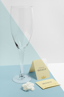 Champagne empty glass new year mock-up