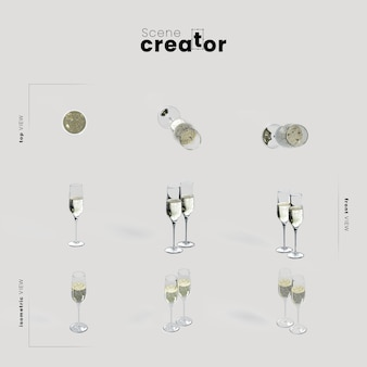 Champagne glasses variety angles christmas scene creator