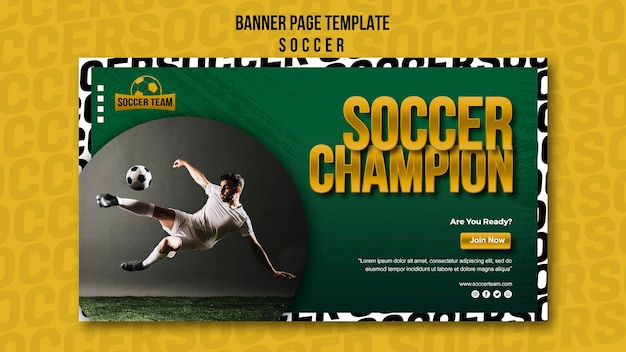 Champion school of soccer banner template