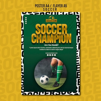 Champion school of soccer poster template
