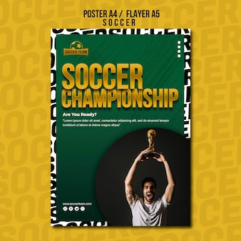 Championship school of soccer poster template