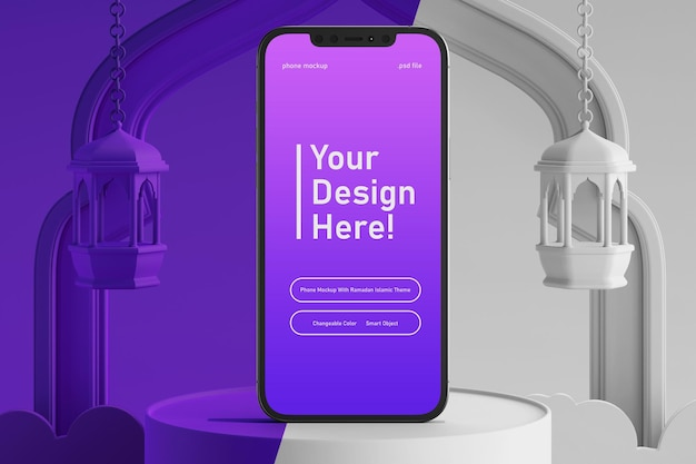 창의적인 3d 렌더링 라마단 카림 이드 무바라크 테마에서 변경 가능한 색상 스마트 폰 화면 모형